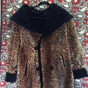 Reversible Faux Fur Leopard & Velvet Swing Coat